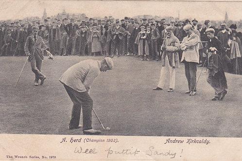 Alex Herd,  v Andrew Kirkcaldy,  Match.Ref 400. C.1903