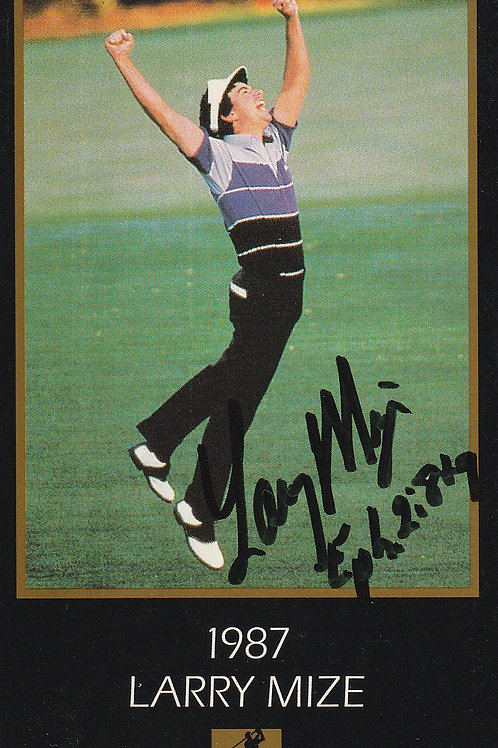 Masters Grand Slam card Signed by Larry Mize Ref.460