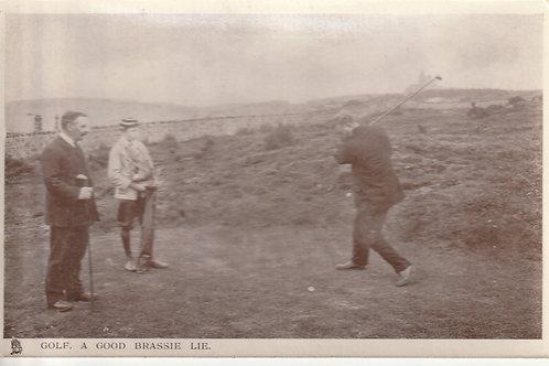 1906 Golf Postcard, A Good Brassie Lie Ref.2563 C.1906