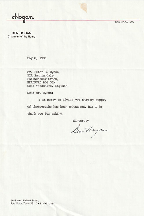 Ben Hogan SIGNED Typed Letter Ref.Epm. 028 C.1086