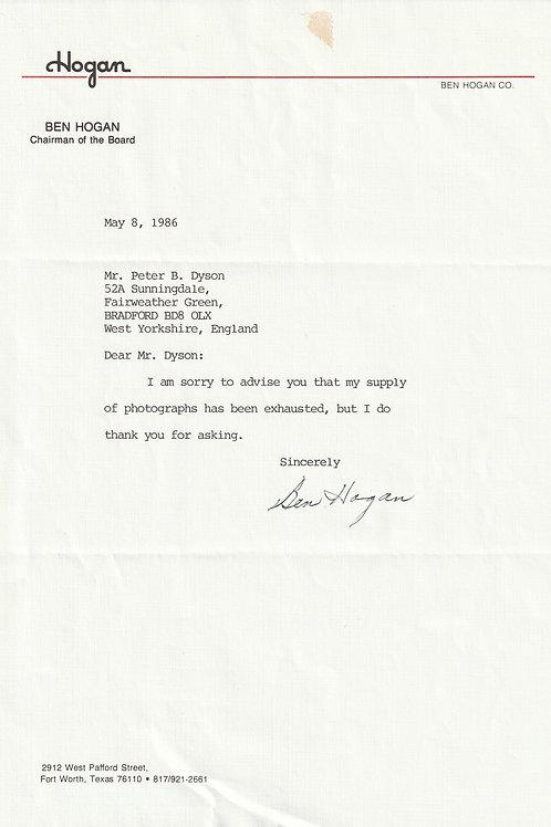 Ben Hogan SIGNED Typed Letter Ref.Epm. 028 C.1086
