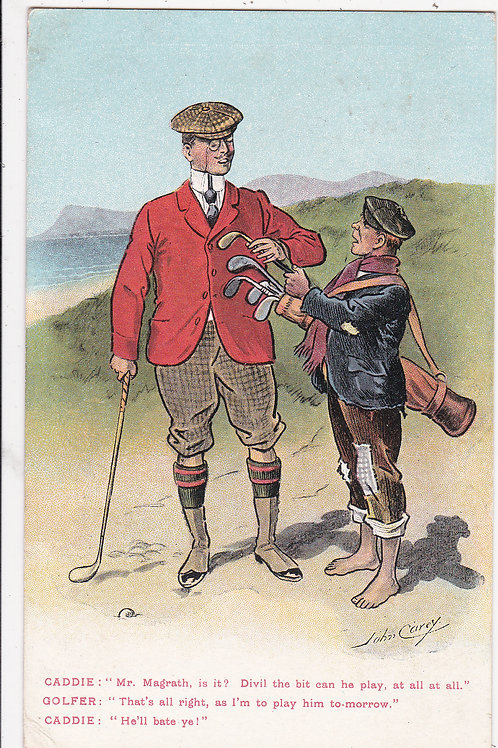 Comic Golf PC. Artist John Carey.Ref 925  C.1907