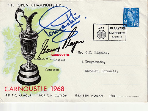 1968 Carnoustie Open FDC Signed Ref.001 C.1968