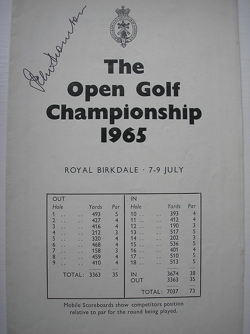 1965 British Open Golf Programme SIGNED Ref.219