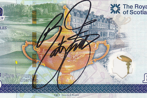 R/Cup 2014 Rickie Fowler Sig. £5 Note RC 73.