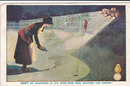 Comic Golf PC Ad North British Rubber Ref.1512 C.1915