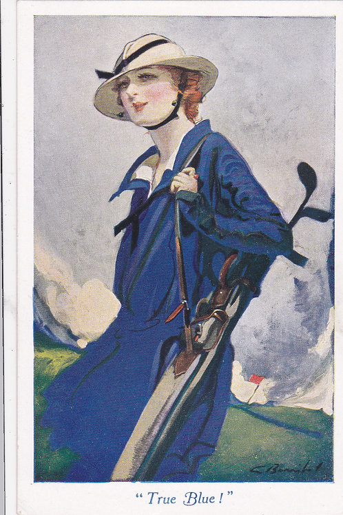 Golf Art Postcard True Blue Ref 1224 C.1910-18