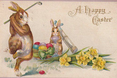 Golfing Easter Bunny Ref.2587 C.pre 1917