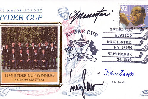 Ryder Cup Team SIGNED Silk FDC C.1995