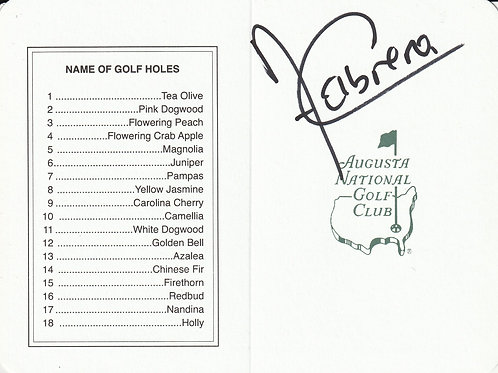Angel Cabrera Hand Signed Masters Card Ref.GM 092
