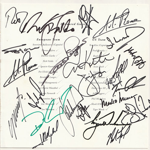 1997 RYDER CUP MATCHES SIGNED MENU San Roque Club Ref. RC.026
