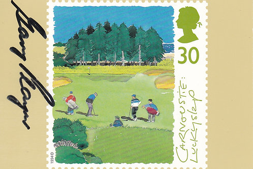 Signed Carnoustie Stamp Card.G.Player Ref 557 C.1994