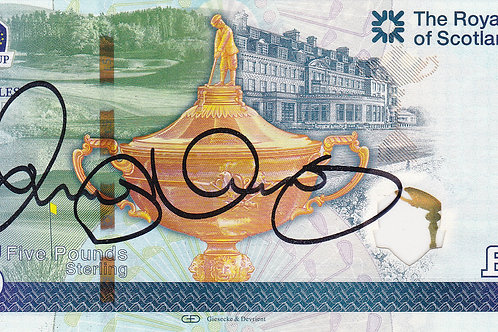 R/Cup 2014 Rory McIlroy Sig. £5 Note RC 80.