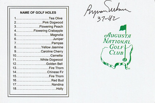 SOLD> Ref.215.Byron Nelson Hand Signed Masters Card Ref.GM 215