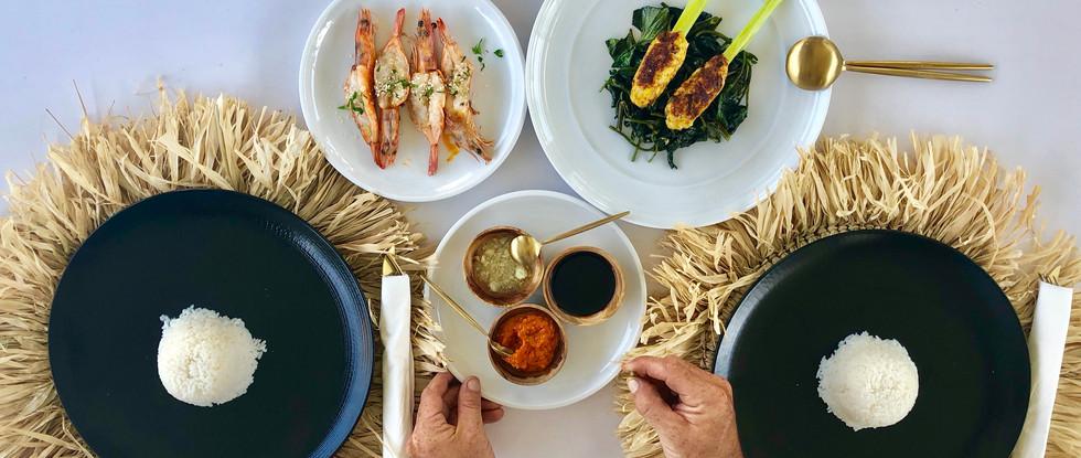 Balinese Chicken Satay with assortment of Sambal and Garlic prawns