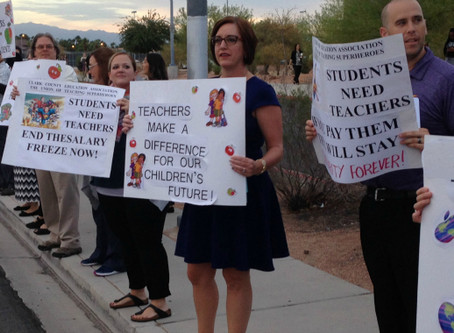 Teachers rally for end to salary freeze