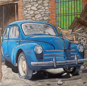 80 - 4cv bleue 40x40