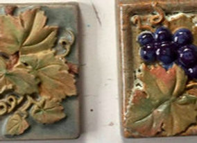 "2""x2"" grape and leaf Glazed Accent tiles"