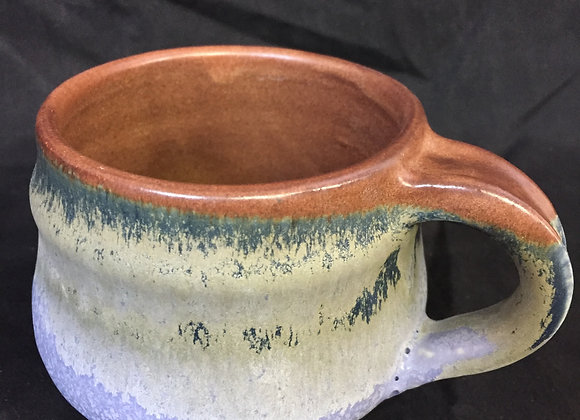"Brown & Blue Mug 4""H, 3.5""W"