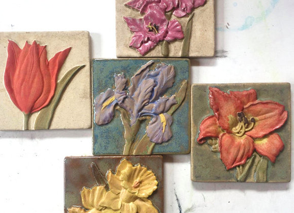 "4""x4"" Flower Motif Glazed Tiles"