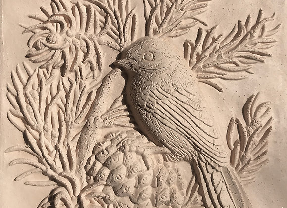 "6""x6"" Bird in the Pines unglazed tile"