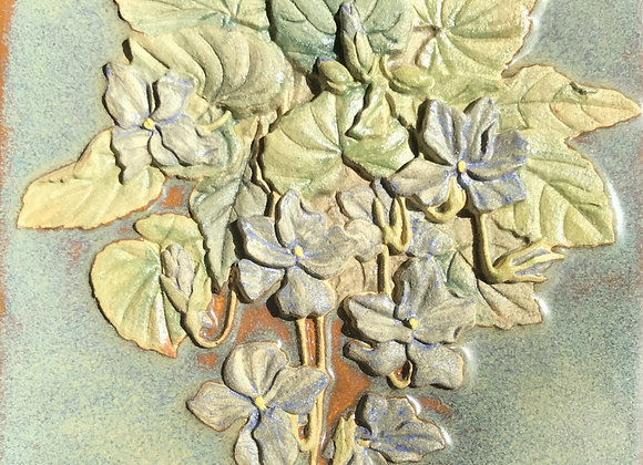 """6""""x6"""" Flowers and Leaves Glazed Tile"""
