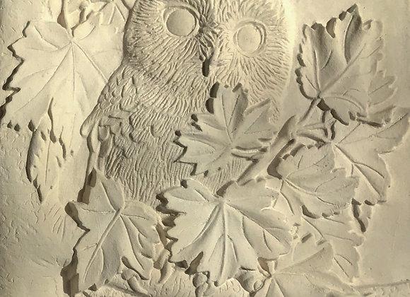 "6""x6"" Owl & Leaves Unglazed tile"