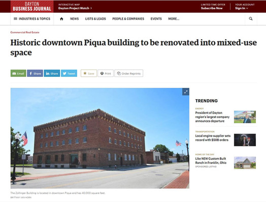 """""""Historic downtown Piqua building to be renovated into mixed-use space"""""""