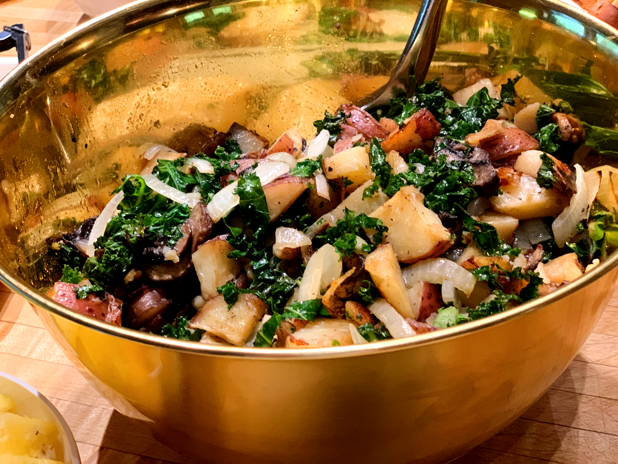 Roasted potato, kale, mushroom