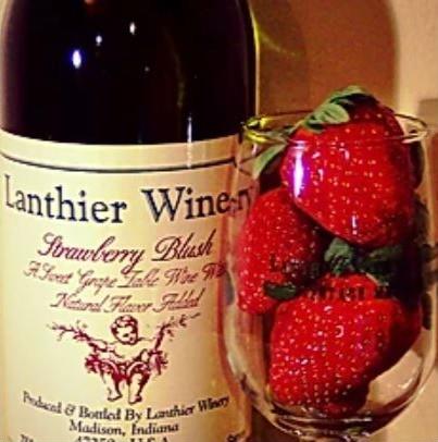 Lanthier Winery's Strawberry Blush, wine, wine glass, strawberries