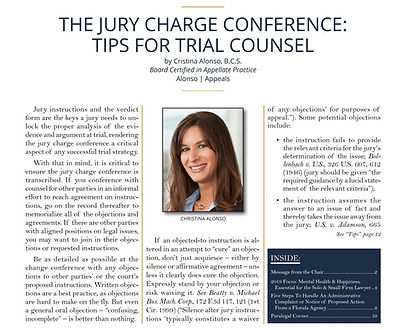 Published Article: The Jury Charge Conference: Tips for Trial Counsel