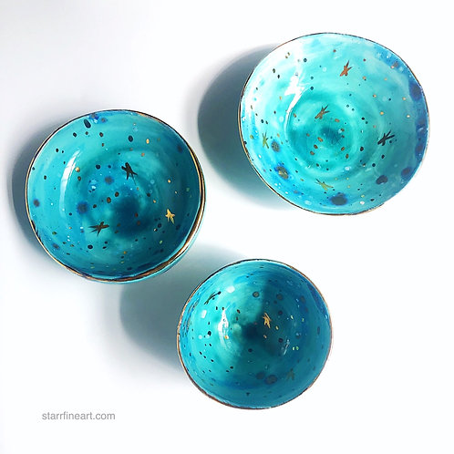 Mermaid Blue condiment bowl set (SOLD)