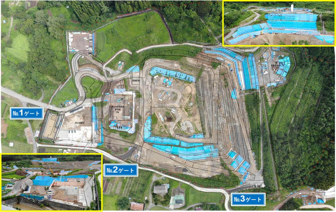 令和元年8月 防災調整池の掘削も完了し、コンクリートの打設も開始しました