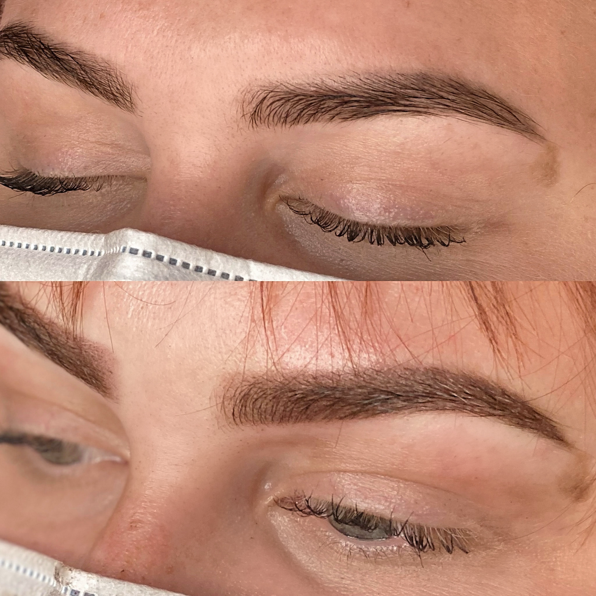 Top Photo is Ombre Shading healed after one year. Bottom is fresh brows after colour boost applicati