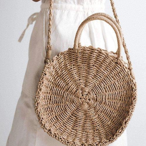 Gigi Pip Straw Circle Cross Body Bag