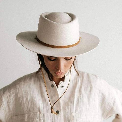 Gigi Pip Wren Flat Brim Telescope Hat - Off White