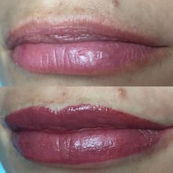 Semi permanent lips.
