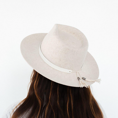 Leather Band with Tassels - White