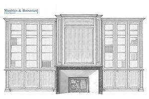 dessin d'étude pour un projet de bibliothèque sur mesure à Paris