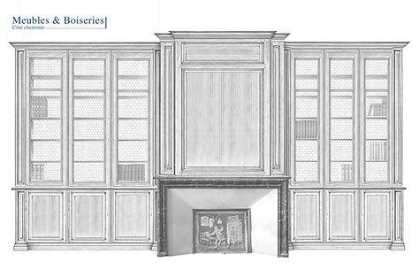 dessin d'étude de la bibliothèque du musée Jean de La Fontaine