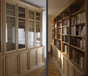 Bibliothèque sur mesure, meuble à deux corps modèle Guillaume