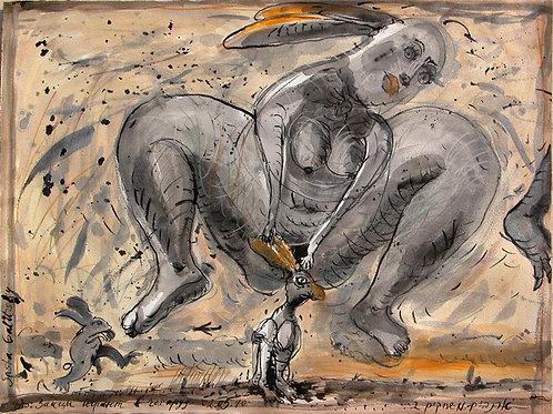 Зайцы играют в чехарду
