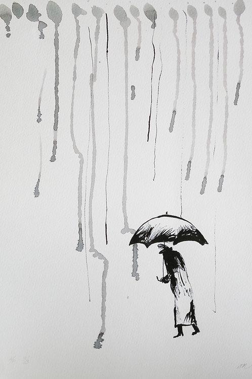 """Авторский принт """"Под дождем"""""""