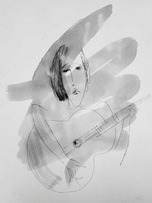 """Авторский принт """"Девочка с гитарой"""""""