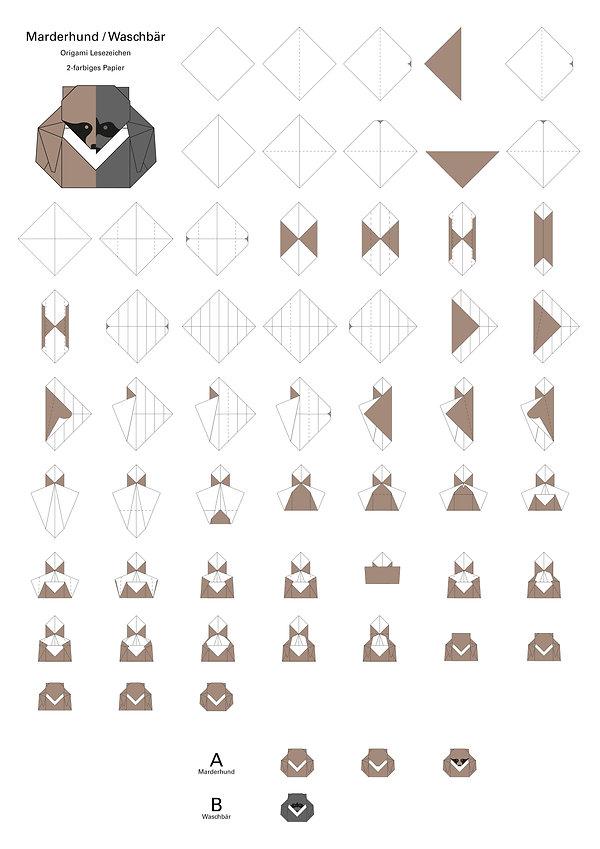 Origami Marderhund Waschbär Anleitung