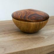 Cocobolo lid on a Oak based pebble box