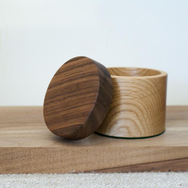A lovely little oak bodied box with a black walnut lid.