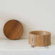 This beautiful little oak box was made from a thrown away piece of timber and the Iroko lid was the remnants of a larger project