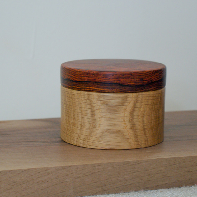 This Oak body is topped with a cocobolo lid, both are remains of larger projects that were close to being thrown away
