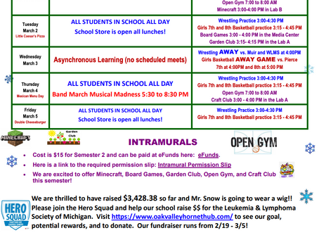 OVMS Weekly Events, Mar 1-5
